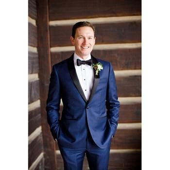 2018 new Navy Blue men wedding suits Jacket Slim Fit costume homme 2 Pieces Groom mens suit Tuxedo Custom Blazer terno Masculino