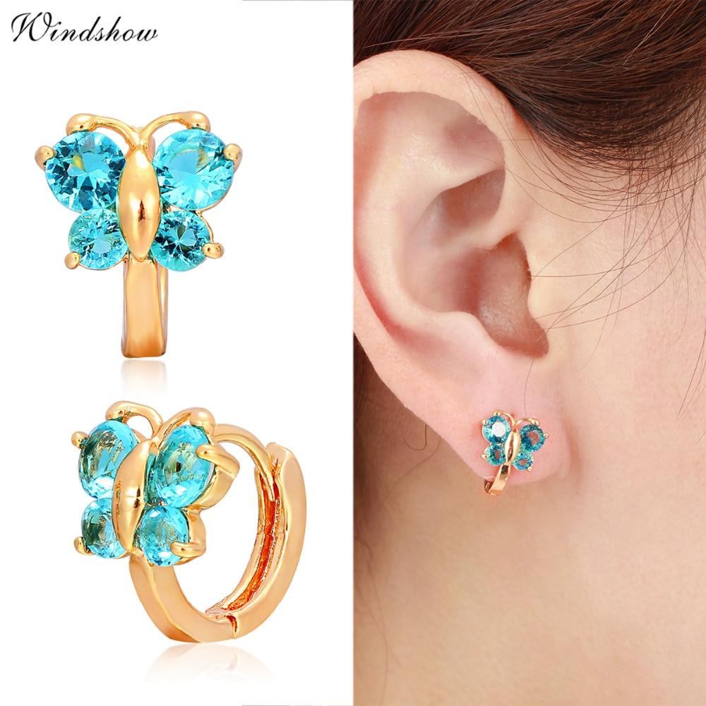 Mini Cute Butterfly Ocean Blue Crystals Gold Color Small Loop Huggies Hoop  Earrings For Girls Kids