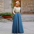 Elegante saia longa uma linha até o chão Maxi saia moda mulheres muçulmanas saias