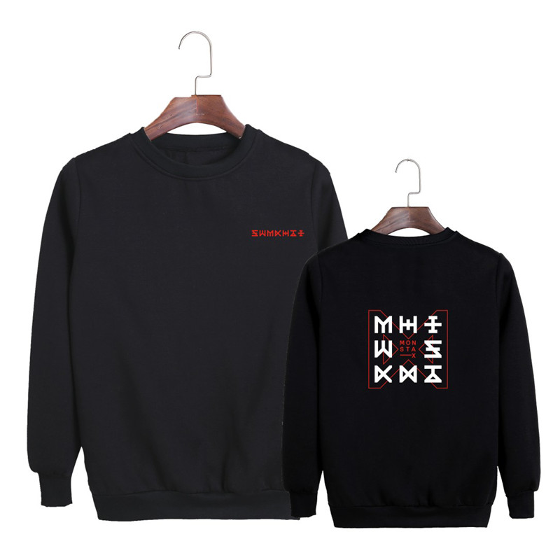 KPOP Korean Fashion Monsta X New Album THE CODE Dramarama O-Neck Cotton Hoodies Pullover ...