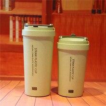 500 ML Nuevo material de Paja de trigo sano respetuoso Del Medio Ambiente Libre de BPA doble pared taza de plástico con cubierta de Paja taza
