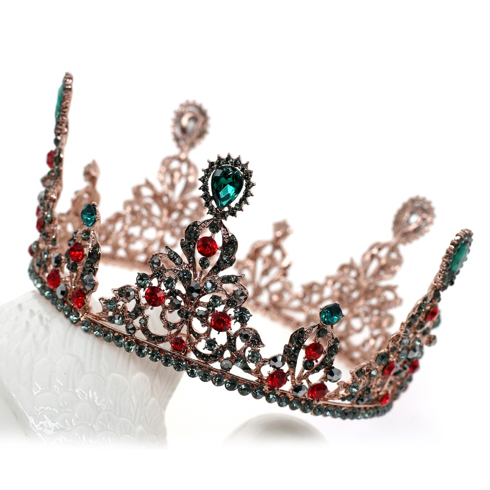 Baroque Queen King Round Bride Tiara Crown For Women Headdress Prom Bridal Wedding Tiaras and Crowns Hair Jewelry Accessories beauty vintage full round gold baroque crown circle rhinestone wedding queen king tiara pearl bride hair accessories