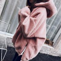 Velvet Solid Color Women Sexy Cap Hoodies Cropped Top Long Sleeve Female Loose Fluffy Fashion Girl Lady Pullover