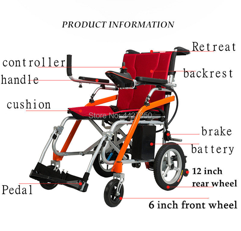 Free shipping hot selling foldable power wheelchair elderly wheelchair electric accessories handicap