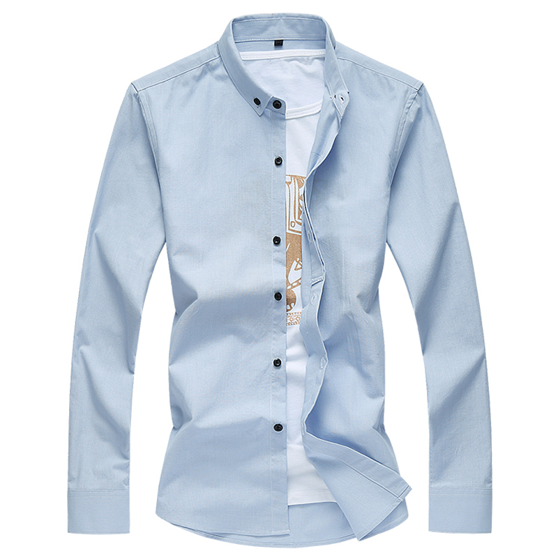 2017 새로운 arrivel 시즌 남성 긴 셔츠 고품질 패션 레저 슬림 솔리드 망 긴 소매 셔츠 대형 M-7XL