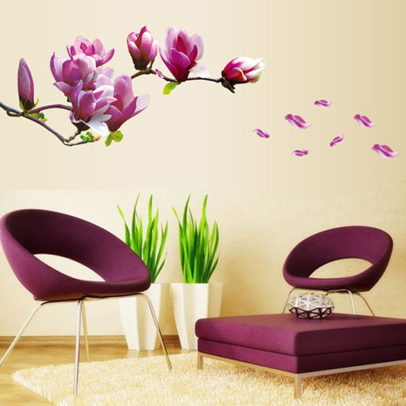 vovotrade magnolia flowers removable art vinyl mural home