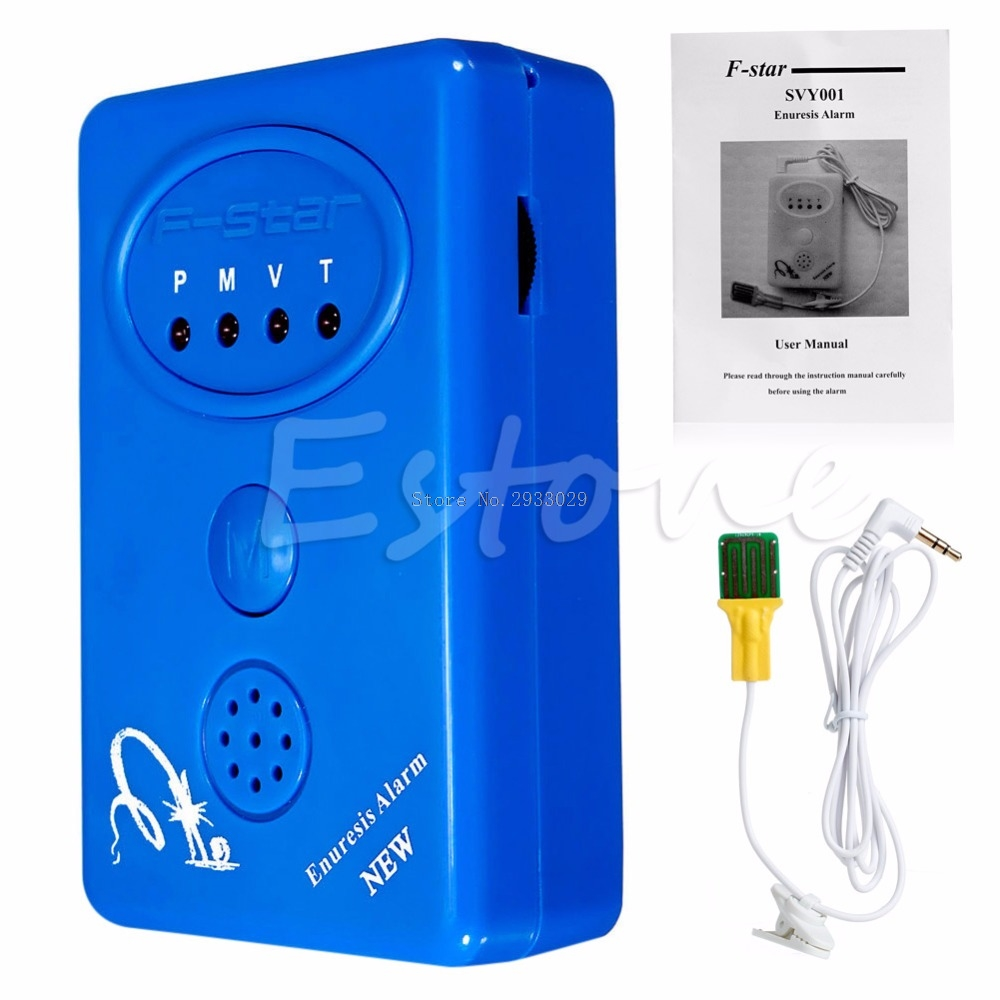 Adult Baby Bedwetting Enuresis Urine Bed Wetting Alarm +Sensor With Clamp Blue -B116