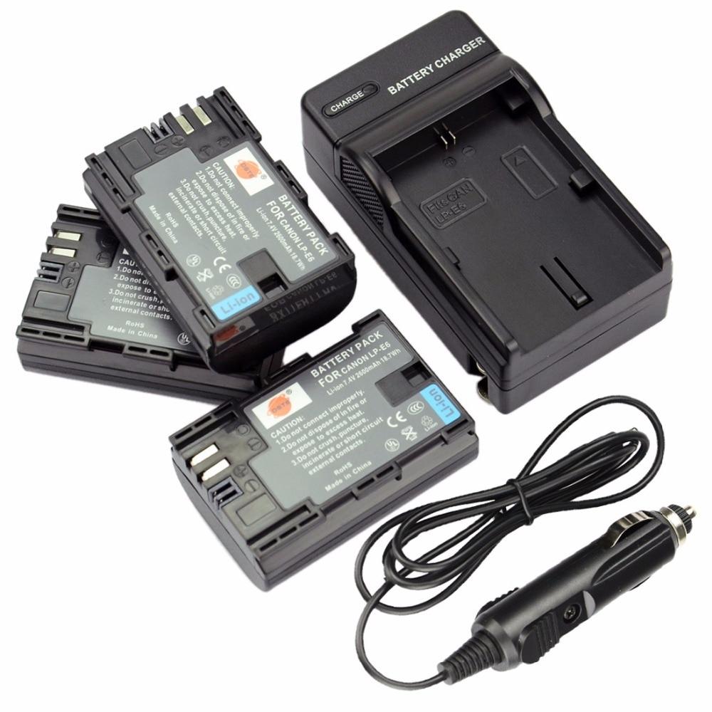 DSTE 3pcs 2600 mAH LP-E6 LP E6 LP-E6N Camera Battery + Travel Charger for Canon EOS 5DS 5DSR 5D Mark II III 7D MarkII 6D 7D 80D durapro 3pcs lp e6 lp e6n battery lcd usb charger for canon eos 5d 5d2 5ds mark ii 2 mark iii 3 6d 60d 7d 7d2 7dii 70d 80d