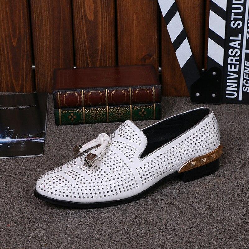 Couro Casamento Fluorescência Homens Inglaterra Vestido Handmade Sapatos Cristal De Pic Marca Size Strass As Do Sapatas Plus Lantejoulas Homem on Tendência Slip H7qnv706