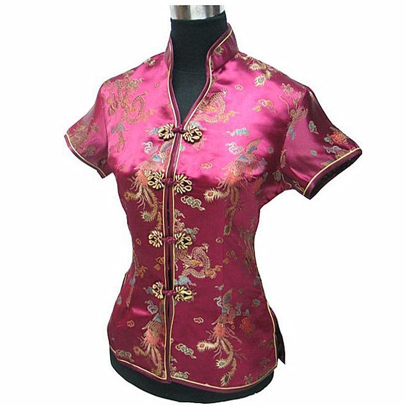 Borgoña mujer blusa Mujeres Camisa China señora de satén de poliéster Camisa con