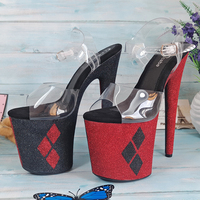 Leecabe Beautiful Color mixing Rhombus Glitter Pole dancing shoes with 8inches High Heel platform Pole Dancing Sandals Shoes