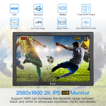"10 ""polegadas Monitor portátil 2560x1600 Mini Display LCD HDMI para PS4 Xbox360 LED moniteur computador scherm laptop monitor de framboesa 1"
