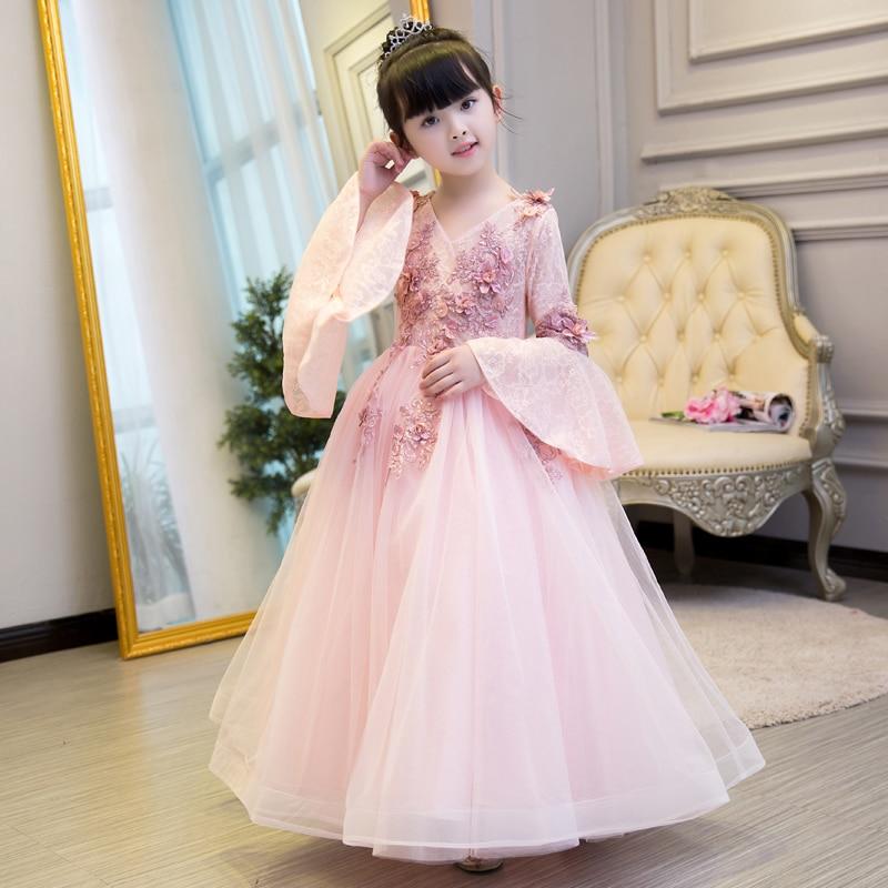 Ball Gown Flower Girl Dresses Wedding V-neck Flare Sleeve First Holy Communion Dress Birthday Floor Length Kids Gown Catwalk B84
