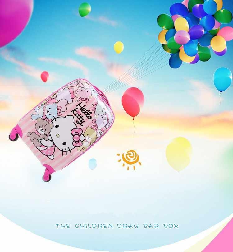 16 дюймов детский прекрасный багаж, дети hello kitty чемодан с выдвижной ручкой с универсальным колесом, розовый чемодан