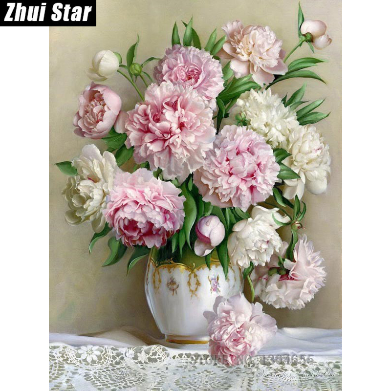 5d square drill peony modern home home decoration diy for 7p decoration