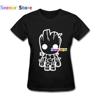 Womens T Shirt Funny Groot Slim Fit Guardians Of The Galaxy Clothes Round Neck Short Sleeve