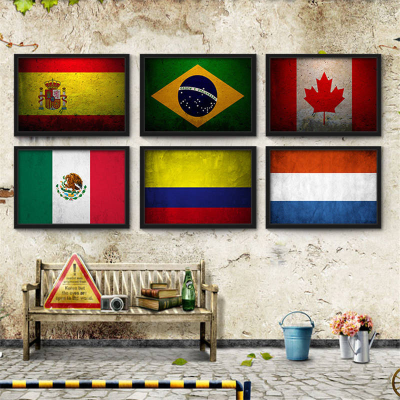 Retro Nostalgic Posters Modern Home Decor National Flag