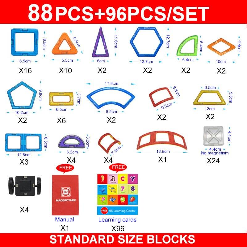 88 pièces taille Standard blocs de construction magnétiques 3D modèle briques de construction enfants jouets éducatifs véhicule d'ingénierie-in Blocs from Jeux et loisirs    2
