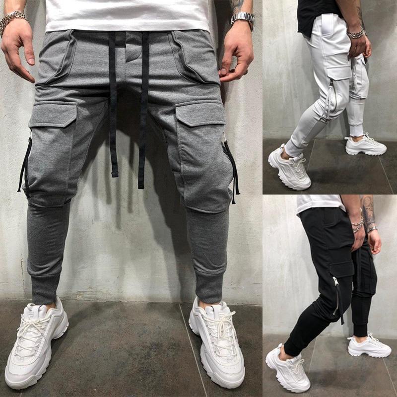 Sweat Pants Men's Hot Style Bag Pocket Fitness Belt Small Feet Zipper Strap Bag Slim Tracksuit Pants