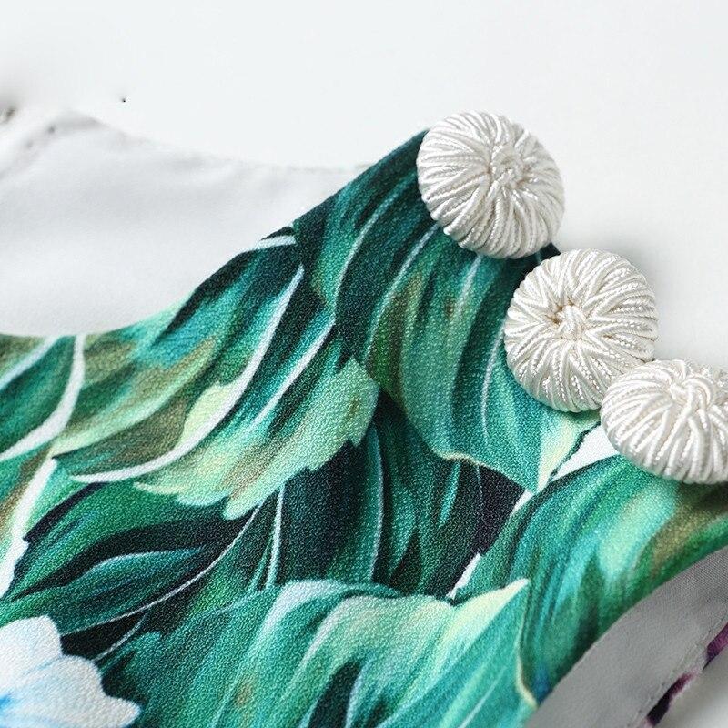 Floral Haute Gilet Vert Designer Piste 2017 Manches Robe Élégant Casual De Nouvelle Imprimé D'été Sans Qualité Femmes Sirène Bouton qECAxwpTO