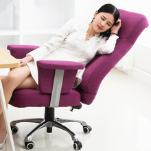 Luxury Fashion Leisure Comfortable Office Chair Linen Soft Liting Rotary Ergonomic Computer Chair Home Reclining Boss Chair(China)