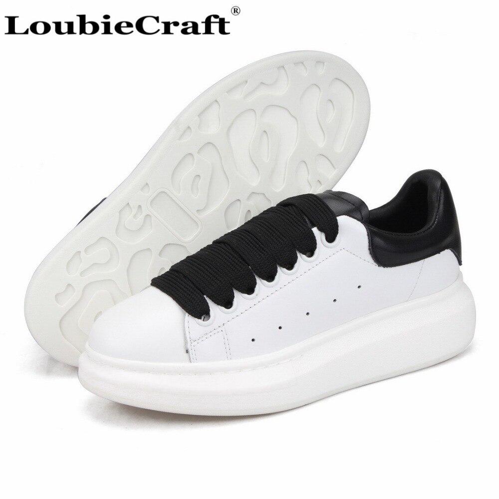 Loubie Formateurs Véritable Femmes forme Cuir Artisanat En Plate Chaussures Occasionnels Blanc Plates Surdimensionné Dames Creepers Sneakers 4xrB4awSq