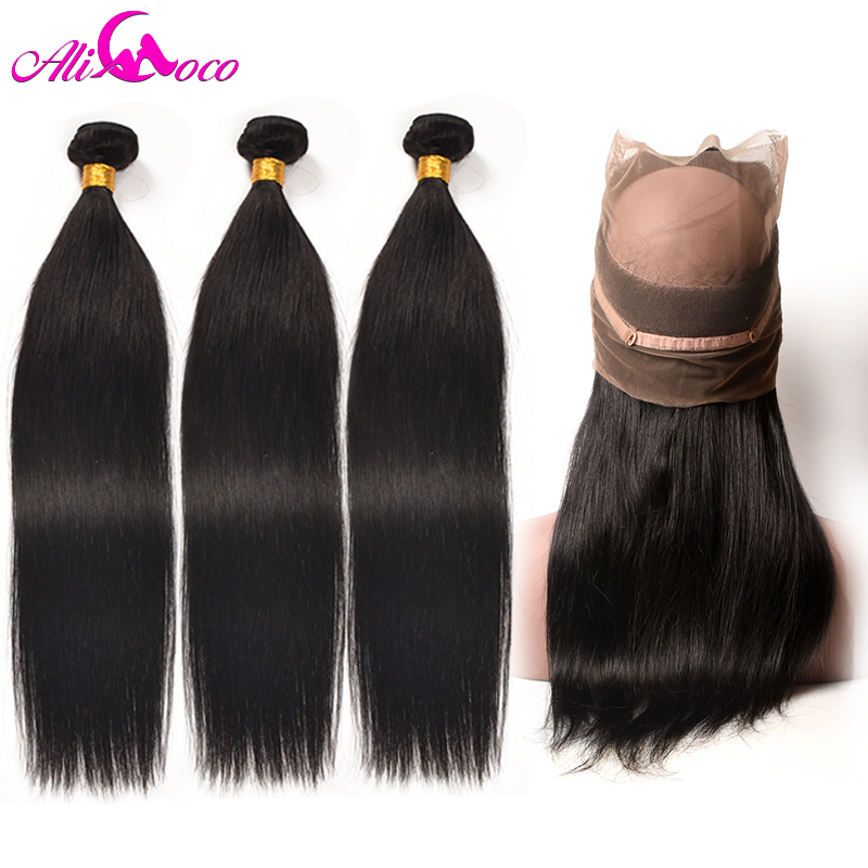 Ali Coco Brazilian Straight Hair 360 Lace Frontal Closure With Bundles Human Hair 3 Bundles With