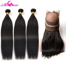 Ali Coco Brazilian Straight Hair 360 Blonde Frontal Closure With Bundles Menneskehår 3 Bundler Med Closure Frontal Non Remy Hair