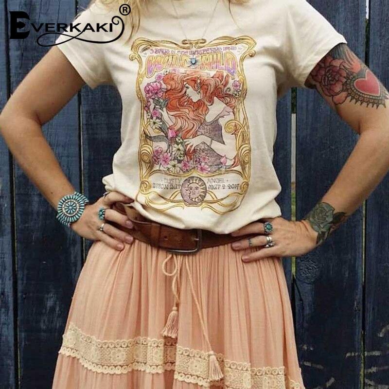 Everkaki Boho Gypsy Girl Imprimir T-shirt de Algodão Encabeça Damasco CRIANÇA SELVAGEM O Pescoço Bohemian T-shirt Top Feminino 2019 Primavera Verão nova