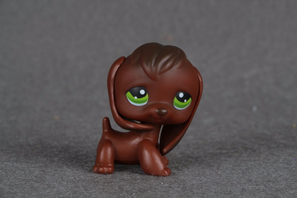 New pet Genuine Original LPS #77 Dark Brown Beagle Dog Green eyes Girls Toys Kids Toys lps pet shop toys rare black little cat blue eyes animal models patrulla canina action figures kids toys gift cat free shipping