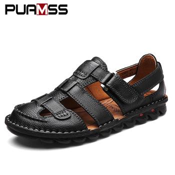2018 lato mężczyźni oryginalne skórzane buty biznesowe skórzane sandały Tob marka wysokiej jakości mężczyźni mieszkania letnie męskie sandały Plus rozmiar 48 tanie i dobre opinie Dla dorosłych Prawdziwej skóry Skóra bydlęca Gladiator Hook loop RUBBER Świnia skóra Sukienka Men Leather Sandals
