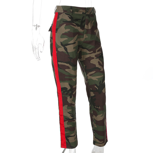 Casual Women Camo Pants Baggy Carrot Jogger Sweatpants Army Green Camouflage  Trousers Patchwork Red Side Stripe Pantalon Mujer 819dd7f8d