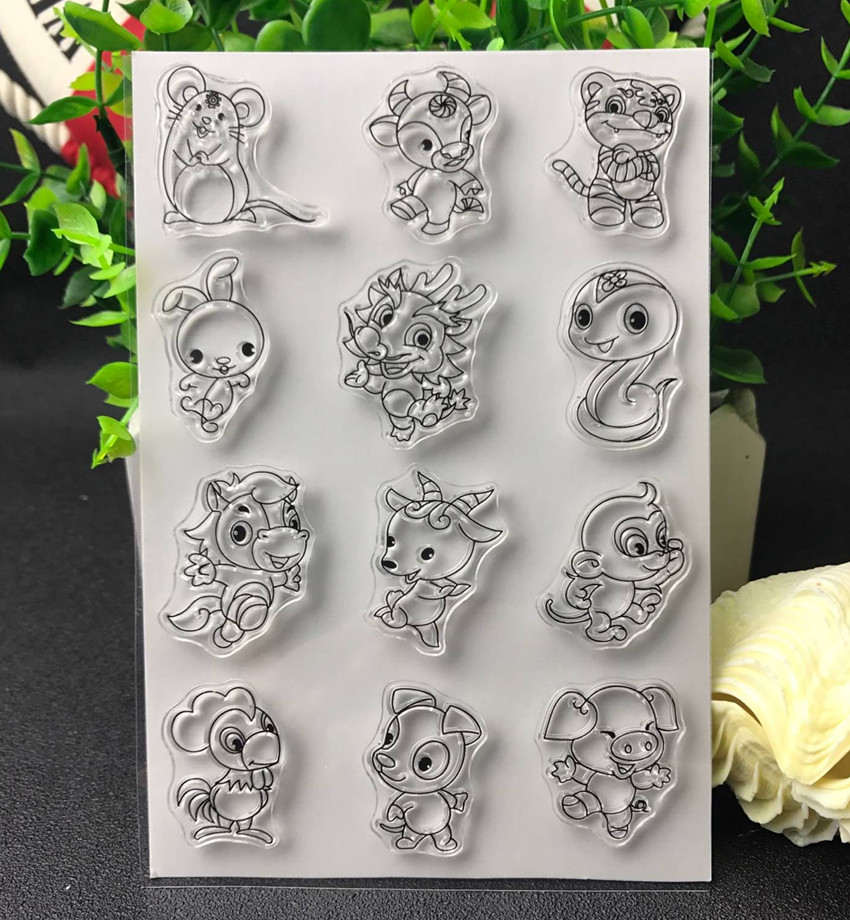 Zodiac Transparent Clear Silicone Stamp/Seal for DIY scrapbooking/photo album Decorative clear stamp lovely animals and ballon design transparent clear silicone stamp for diy scrapbooking photo album clear stamp cl 278