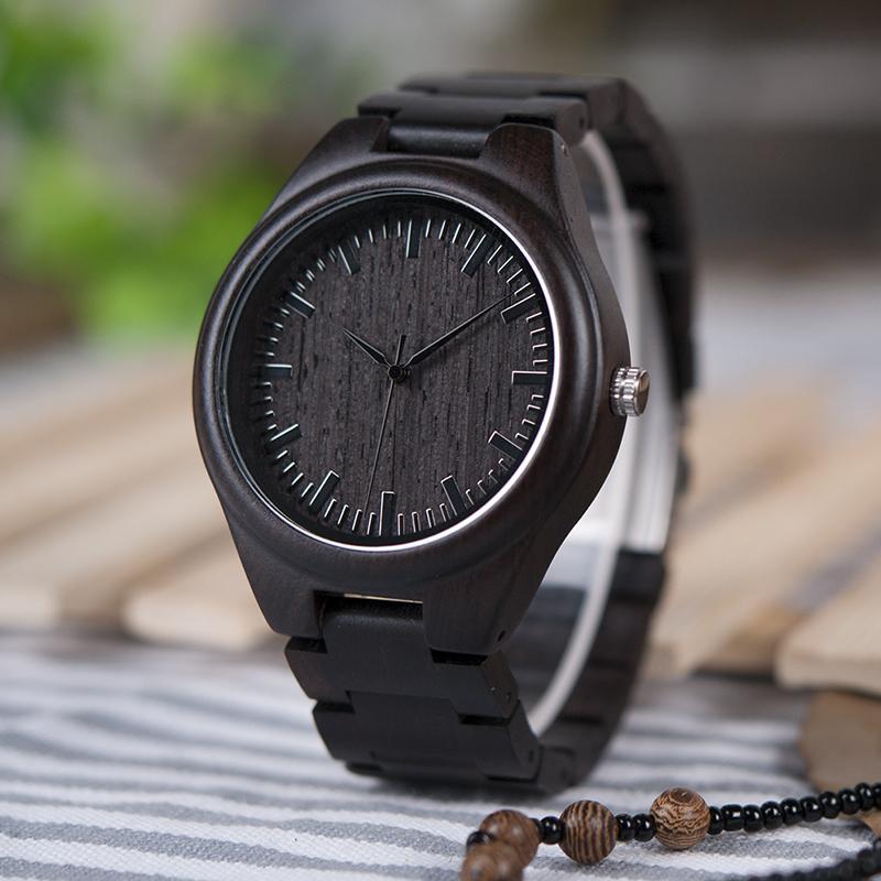 BOBO BIRD Mens Black Ebony Wooden Watches Wood Links Causal Quartz Wrist Watch in Gift Box custom logo 6