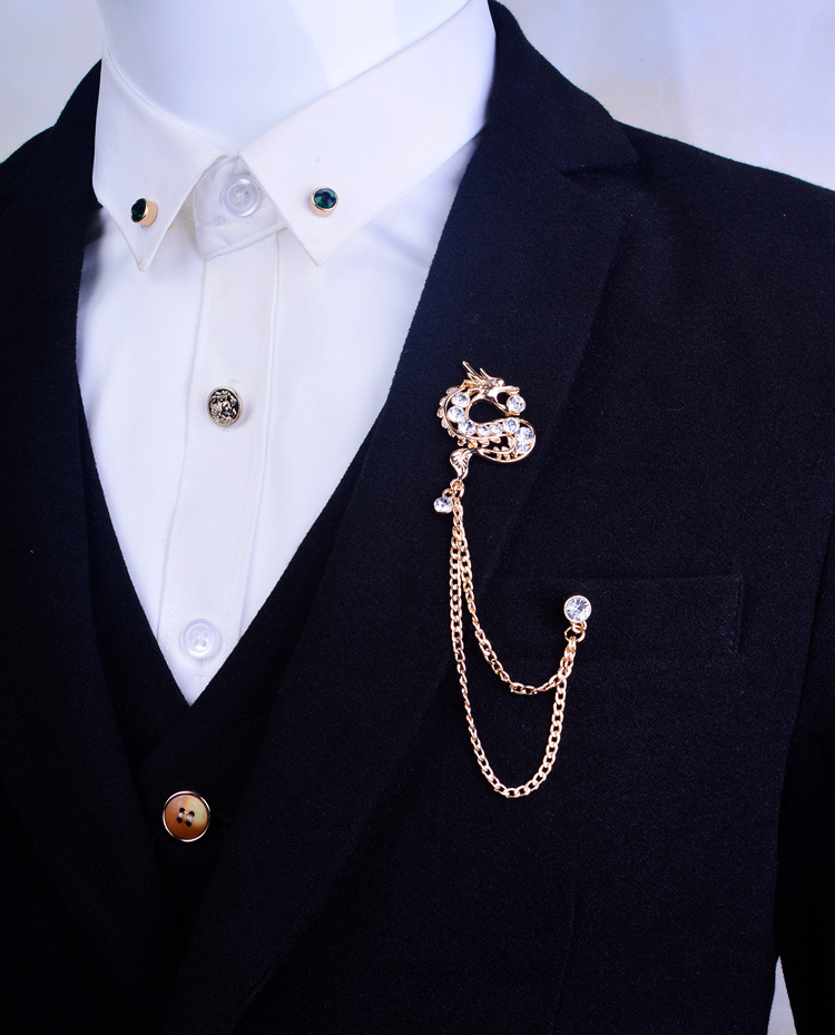 High end Men 39 s Suit Blouse Tassel Brooch Collar Clip Brooch Pin Chain Party Star Lapel Pin Male Suit Link Accessories in Brooches from Jewelry amp Accessories