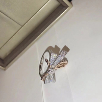 Luxury Brand Pure 925 Sterling Silver Jewelry For Women Bowknot Rings Rose Gold Wedding Jewelry Engagement Ring drop shipping