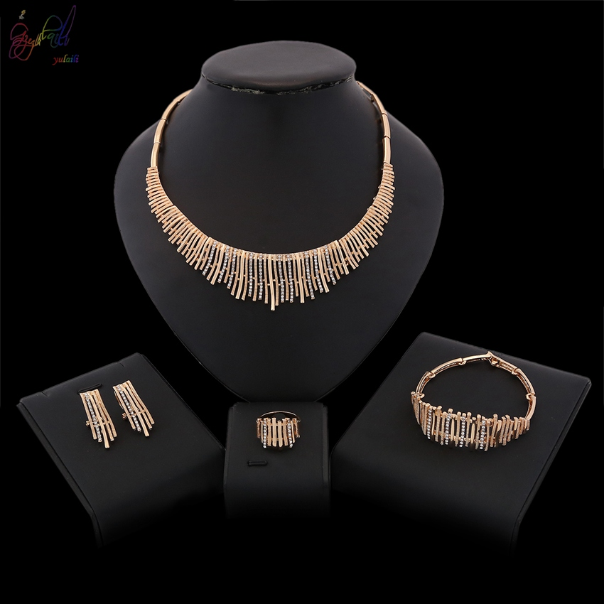 YULAILI Jewelry Sets for Women Gold Color Wedding Party Bridal Accessories Necklace Set with Fashion Tassel Design
