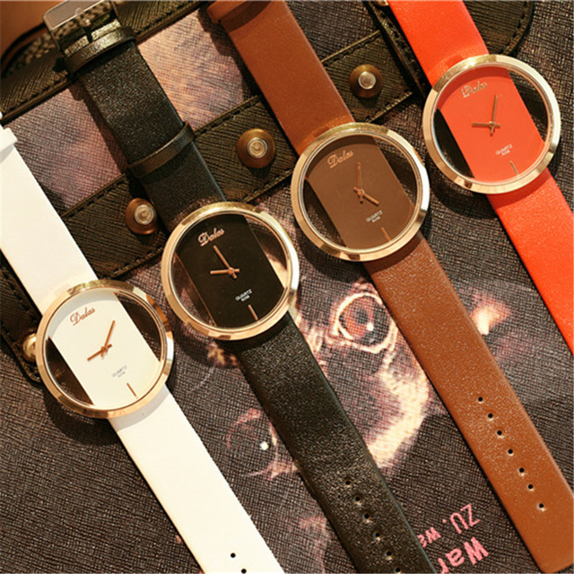 Leather Strap Black Casual Love Heart Time Quartz Wrist Watch