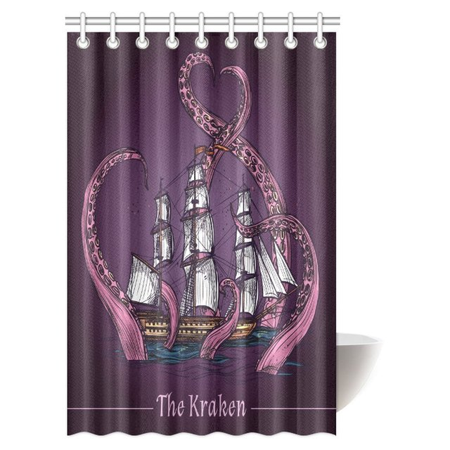 Aplysia Octopus Shower Curtain Sailing Ship And Kraken Monster Tentacles Attack In Ocean Retro Sketch Curtains