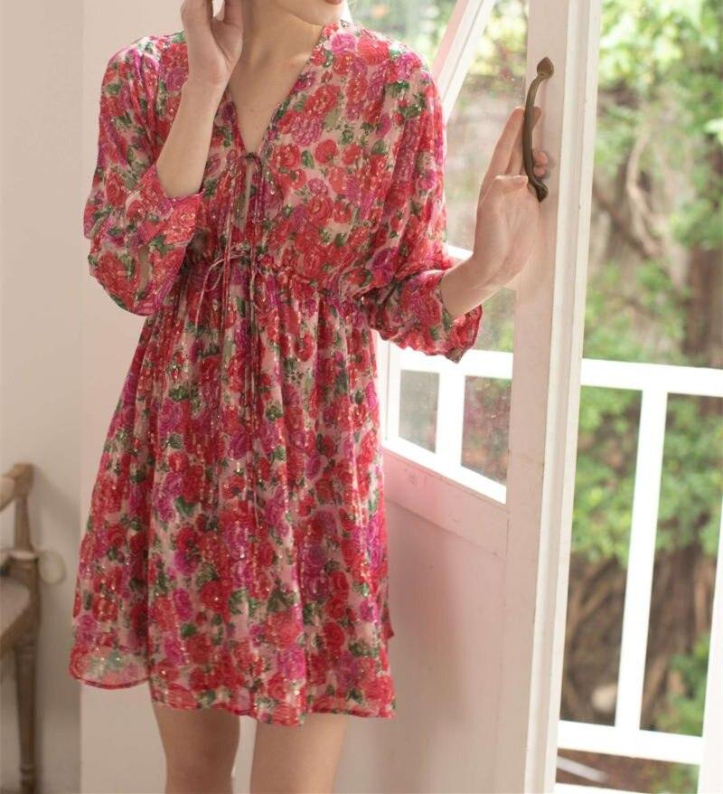 Frauen Gold Linie Rose Blume Drucken A linie Mini Kleid Kurzarm V ausschnitt Seide Hohe Taille Kleid-in Kleider aus Damenbekleidung bei  Gruppe 1