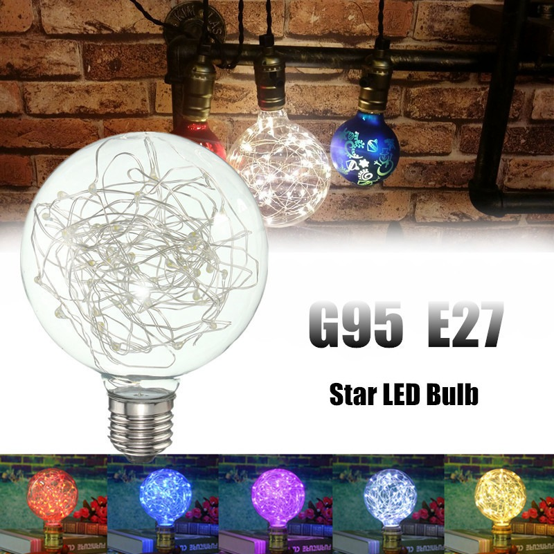 E27 G95 Starry Sky Retro Vintage Edison LED Firework Filament Multicolor Christmas Decor Light Bulb Lamp AC85-265V 5pcs e27 led bulb 2w 4w 6w vintage cold white warm white edison lamp g45 led filament decorative bulb ac 220v 240v