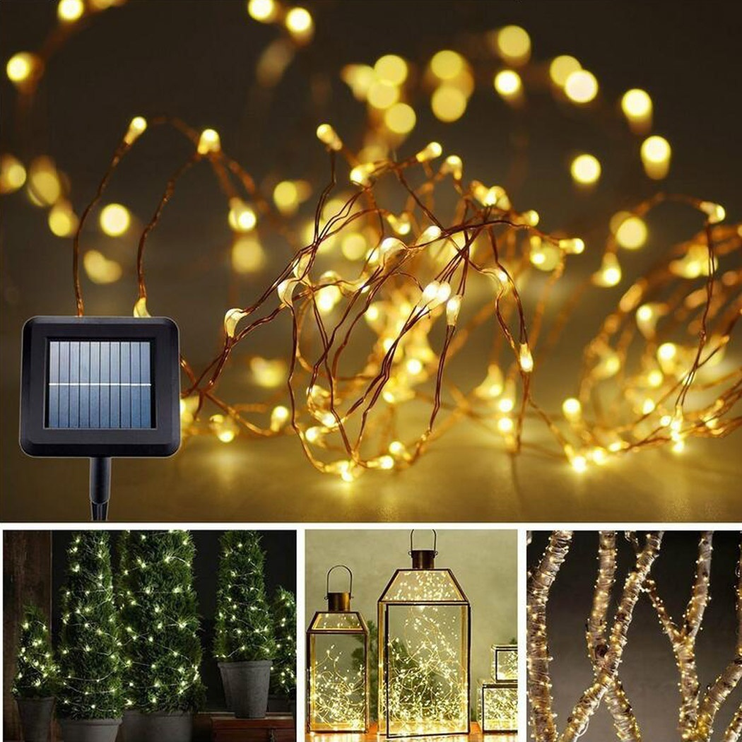 32.8ft 100 LED Waterproof Copper Solar String Lights for Christmas Tree Outdoor Garden Patio Party Wedding Holiday Decoration