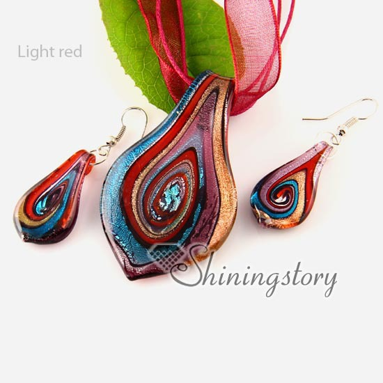 leaf handmade Italian lampwork murano glass necklaces pendants and earrings jewelry sets cheap ladies jewellery jewellery
