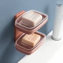 Fashion Double Layers Soap Box Kitchen Tools Bathroom Accessories Dish Suction Holder Storage Basket Stand