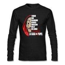 Хип-Хоп Футболка с принтом Money Heist La Casa de Papel, Забавные футболки для мужчин, хлопковые мужские футболки с круглым вырезом и длинным рукавом на заказ