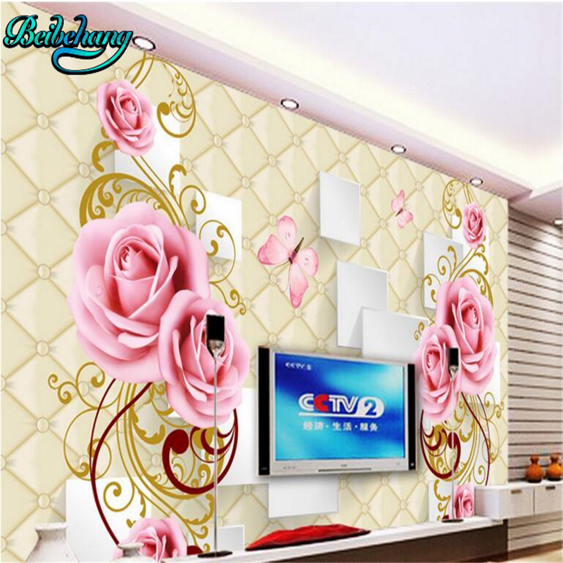 Beibehang Rose Soft Case 3D Stereo TV Background Wall Custom Wallpaper Murals Decorative Painting