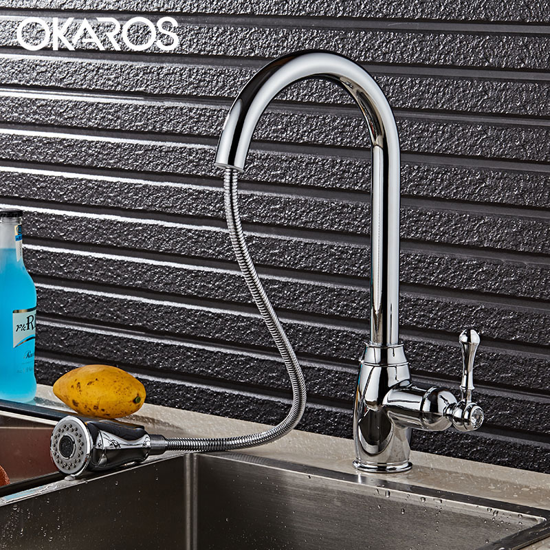 OKAROS Kitchen Brass Faucet chrome fiBrushed Drinking Pull Out Down Water Saver Mixer Tap Modern Flexible kitchen Sink Tap kitchen chrome plated brass faucet single handle pull out pull down sink mixer hot and cold tap modern design