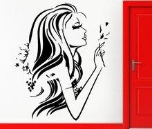 Stylish Fashion Girl Wall Decals Pretty Woman With Flower Sexy Female Art Vinyl Sticker Home Bedroom Beautiful Decor W-989