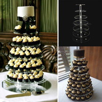 7 Tier Crystal Clear Circle Acrylic Round Cupcake Stand Wedding Birthday Party Candy Display