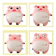 купить Pink Pig Expression Pig Pillow Plush Toy Soft Down Cotton Cute Pig Pillow Girl Birthday Gift 2019 Pig Year Preferred Plush Toy дешево